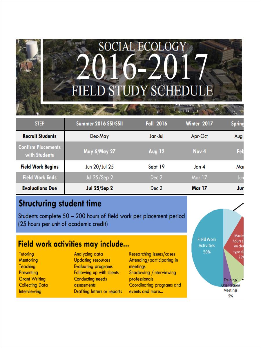 field study schedule