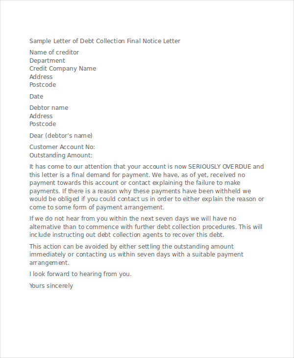 final notice debt collection
