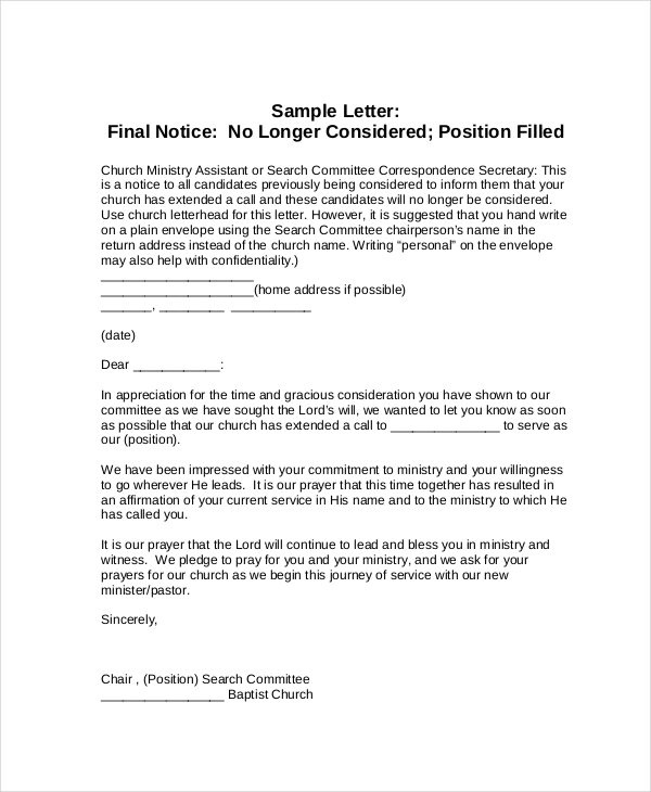 Final Notice Letter