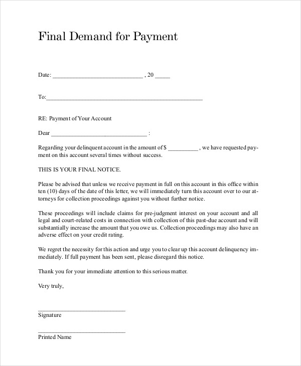 Notice Letter For Payment Notice Of Overdue Payment Template Sample