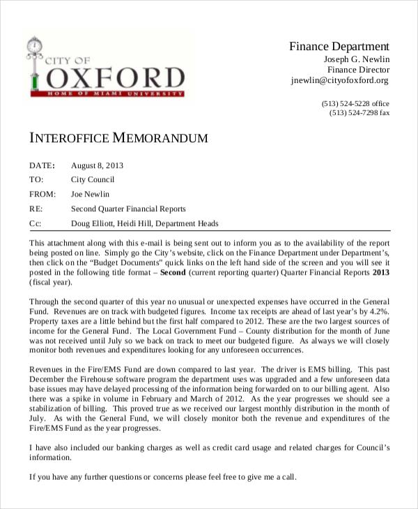 finance department interoffice memo
