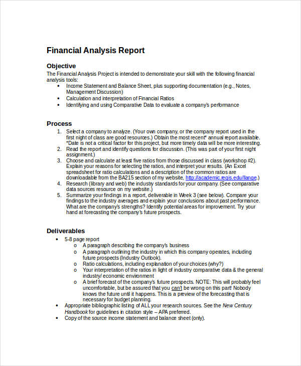 Financial Report Examples Samples