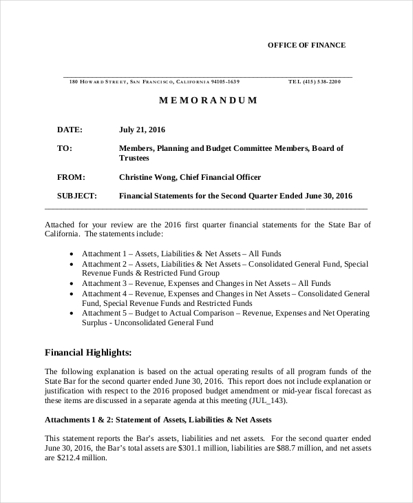 free 11  financial memo examples  u0026 samples in pdf