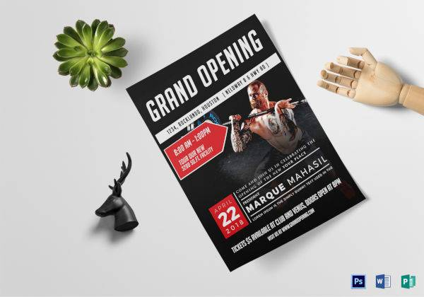 fitness gym grand opening flyer template 600