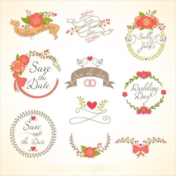 floral wedding badge