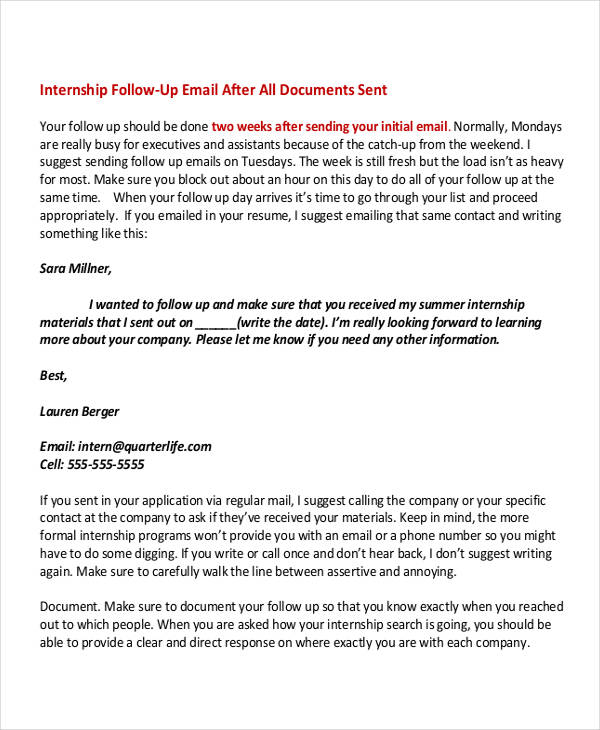 Internship Email Examples  Samples  Pdf