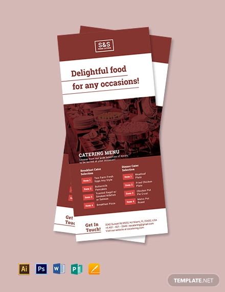 food catering rack card template