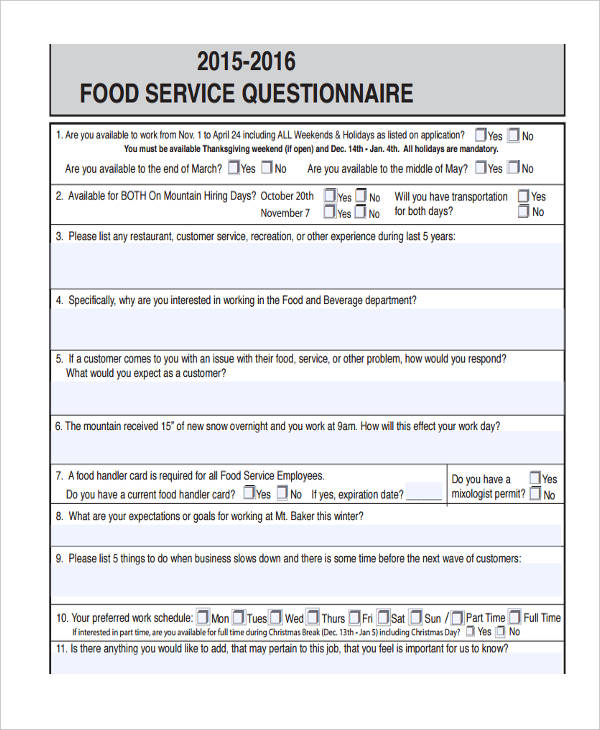 food questionnaire