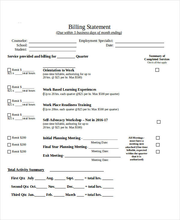 Billing Statement Formal Billing Example Billing Statement Examples