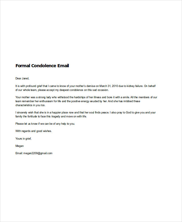 7 Condolence Emails Examples Samples – Formal Condolences Letter