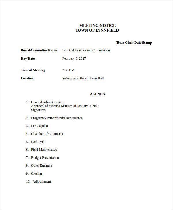 formal meeting notice