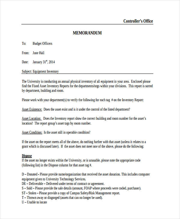 formal office memo example