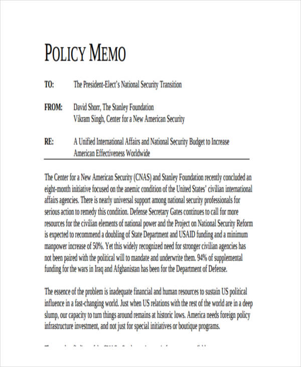 writing a policy memo Business memos are useful in transmitting important information quickly to multiple people in a department or company memos inform employees of new policies, announce important information.