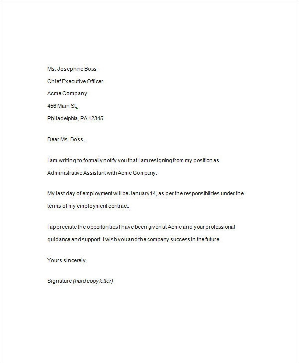 formal resignation sample1