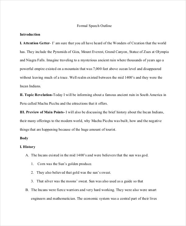 free 5  speech outline examples  u0026 samples in pdf