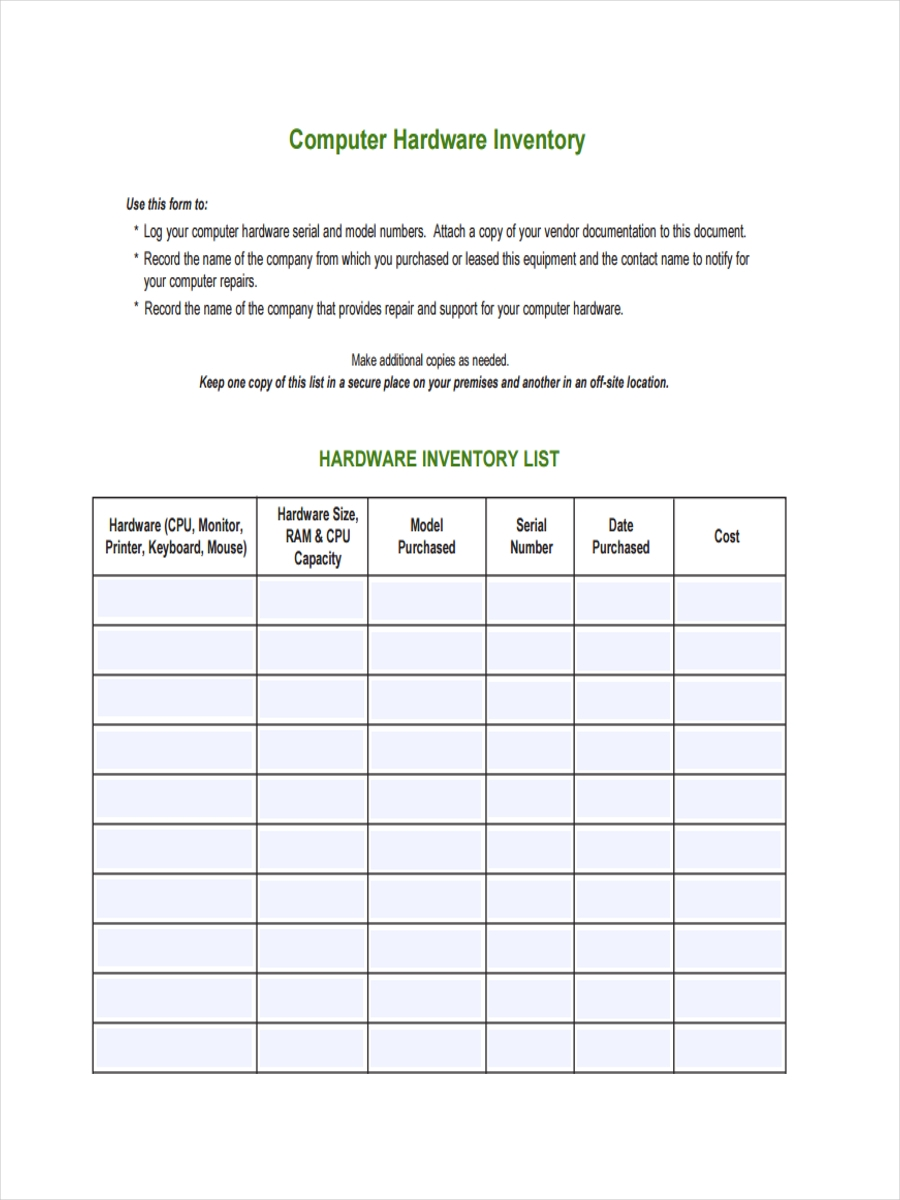 how to make an inventory list