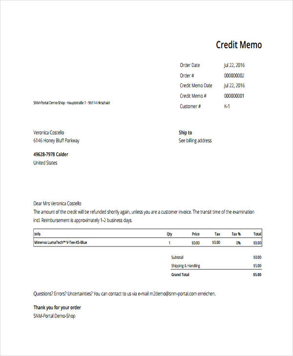 10 Credit Memo Examples Samples Pdf Word Pages