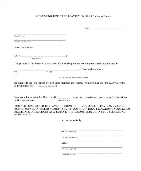 Free Eviction Notice  Eviction Notice Example