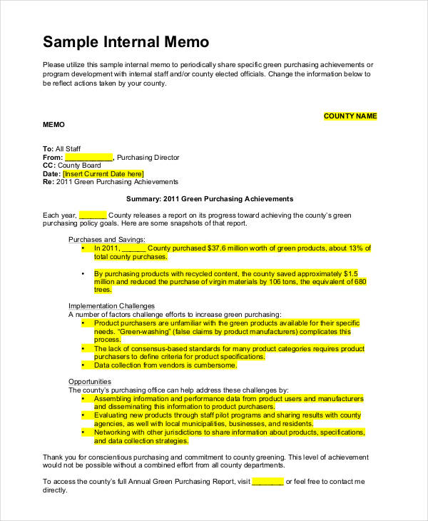 12 internal memo examples samples free internal memo altavistaventures Choice Image