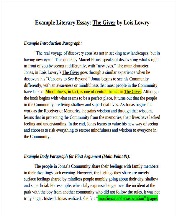 Literary Essay Examples Samples