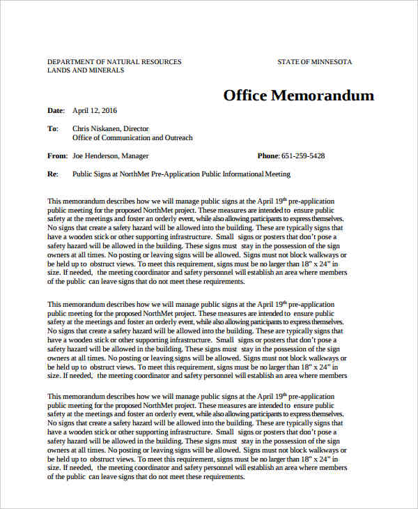 free office memo sample