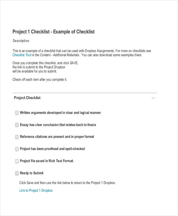 free project checklist