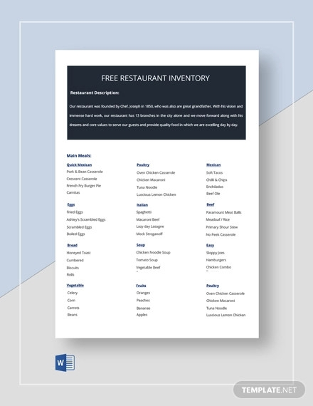 free restaurant inventory template1