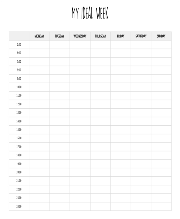 8+ Weekly Plan Examples & Samples - PDF, Word, Pages ...