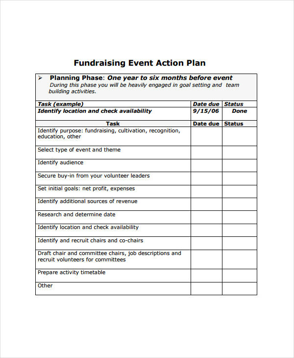 Event Plan Examples Samples