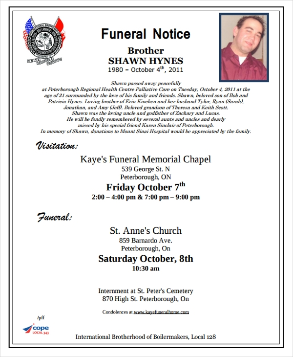 Funeral Notice Format  Funeral Announcement Sample
