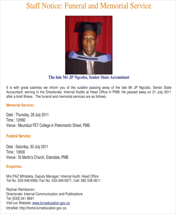 6 funeral notice examples samples