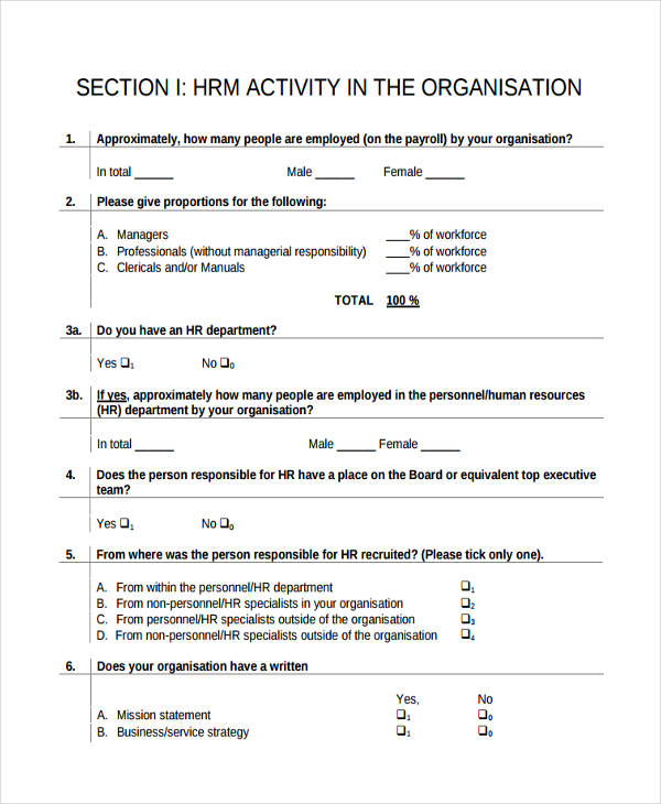 general hr questionnaire1