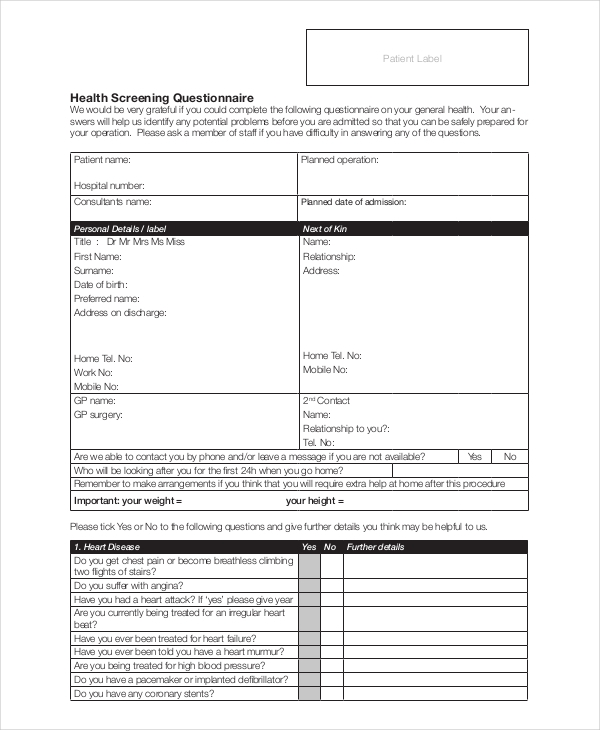 health screening questionnaire general health screening questionnaire sample