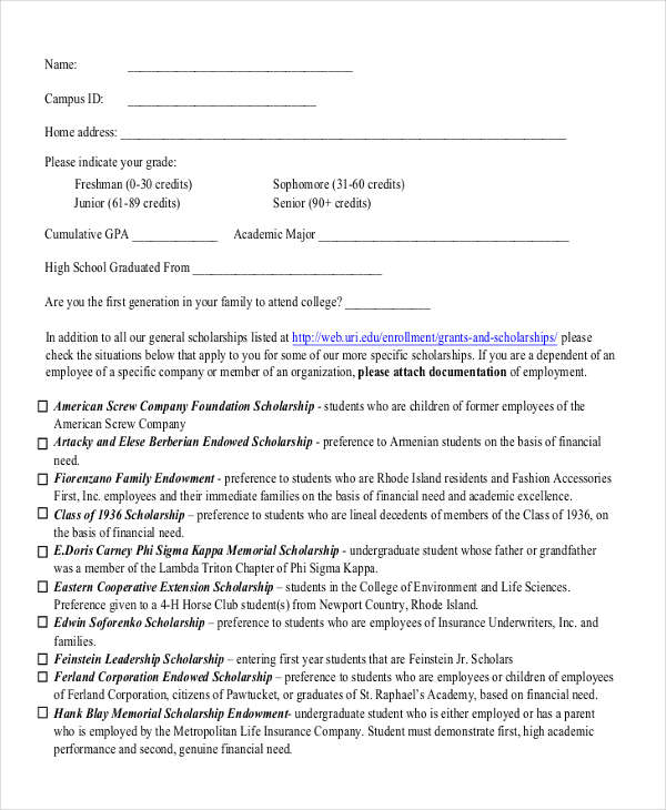 general scholarship application