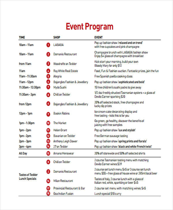 Examples Of Event Programs