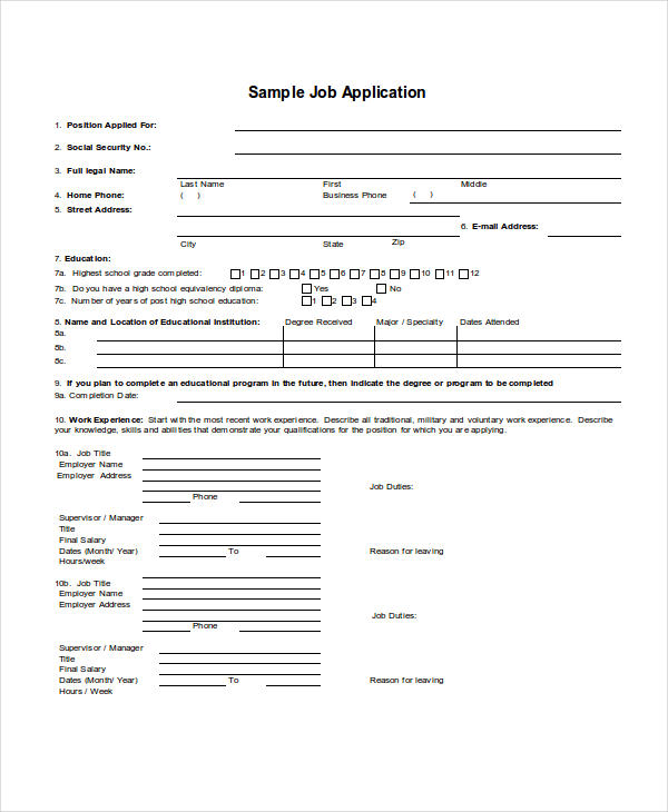 30 Free Application Examples – Generic Job Application