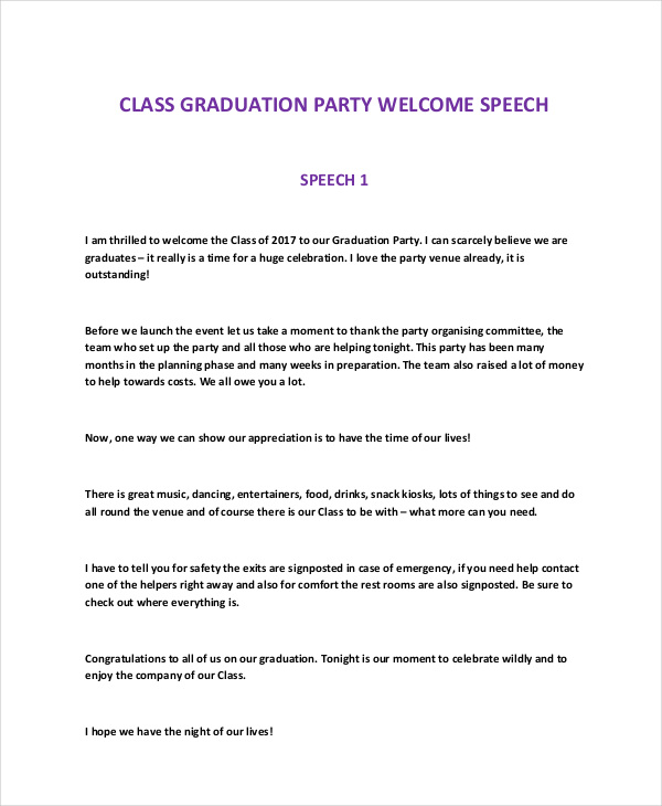 Graduation Party Speech