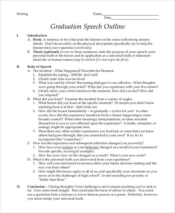 Graduation Speech Examples Samples