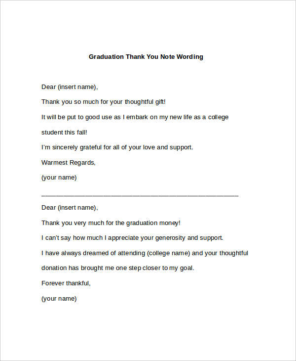 Graduation Thank You Letter Thank You Letter To Parents Sample