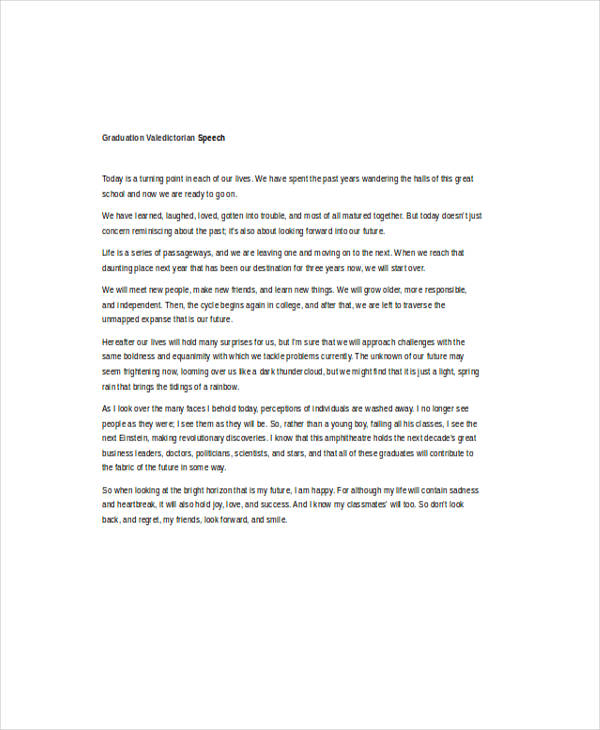 7 Valedictorian Speech Examples Samples – Graduation Speech Example Template