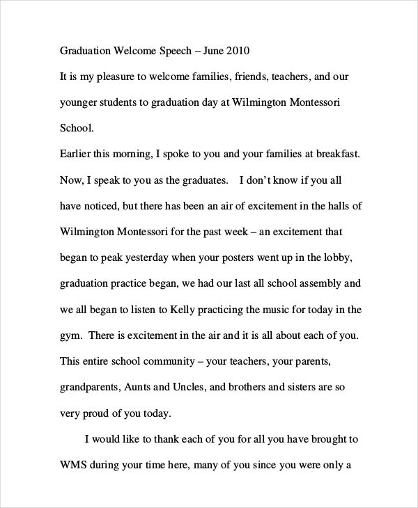 how to write a graduation speech for middle school