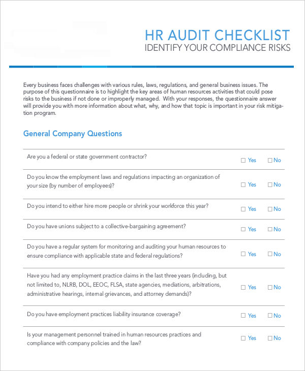 FREE 31+ HR Checklist Examples & Samples in PDF | Word ...