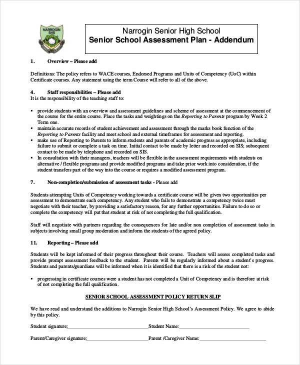 high school assessment plan