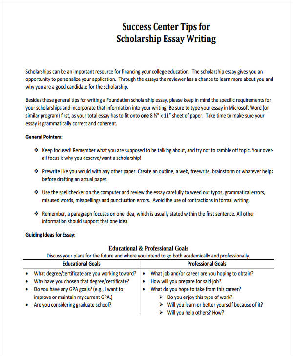 essay writing examples high school scholarship