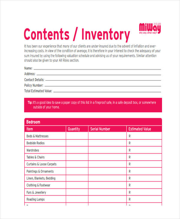 home content inventory
