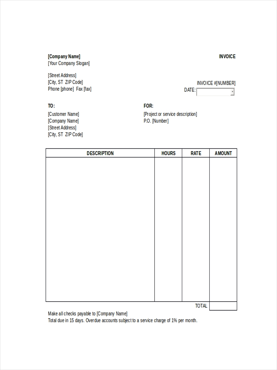 Hourly Service Receipt  Customer Receipt Template