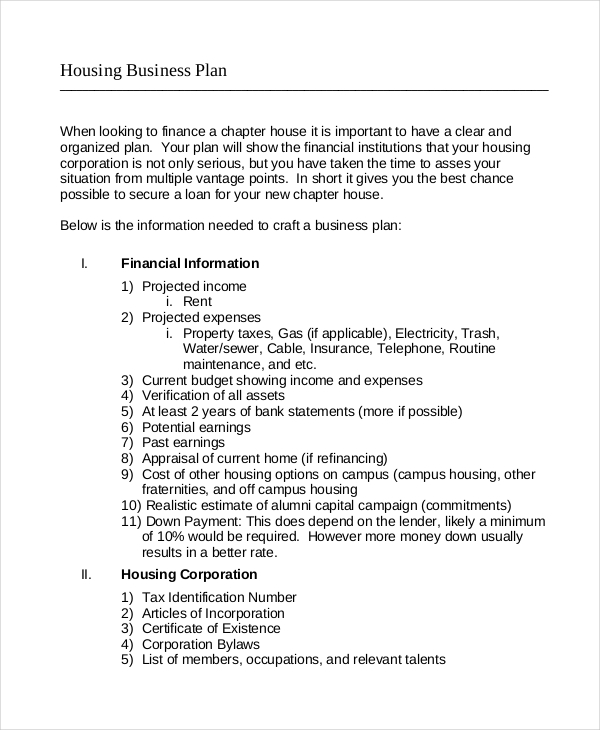 housing business example