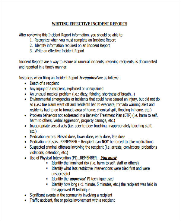 incident report example