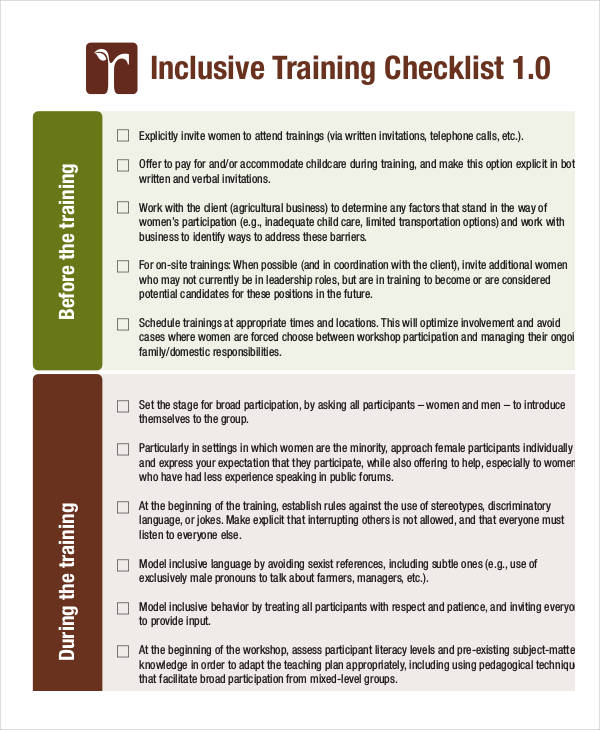 Examples Of Training Checklists