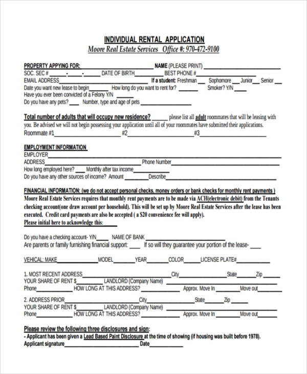 individual rental application